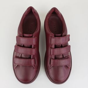 Sandro Red Leather Velcro Casual Walking Sneakers